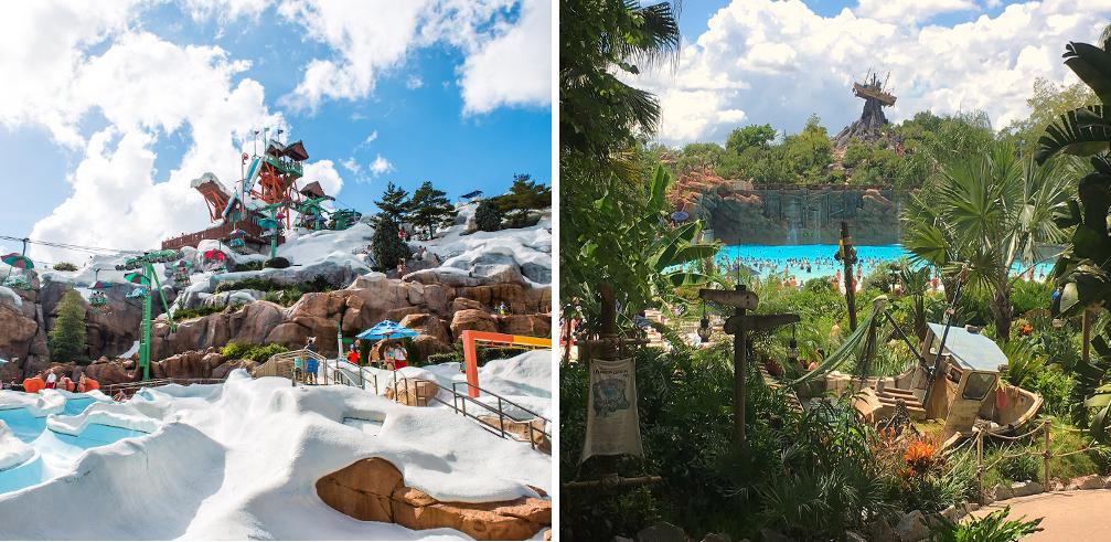 Comparacion Disney's Blizzard Beach Disney's Typhoon Lagoon cual es el mejor preferencias ventajas elegir parque acuatico